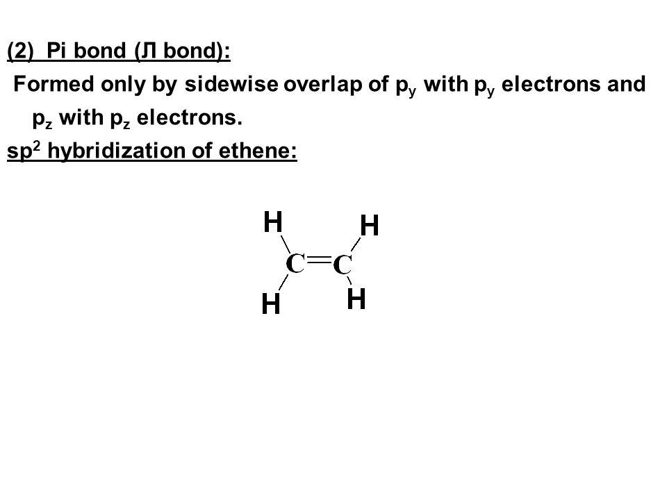 (2) Pi bond (Л bond): Formed only by sidewise overlap of p y with p y electrons and p z with p z electrons. sp 2 hybridization of ethene: