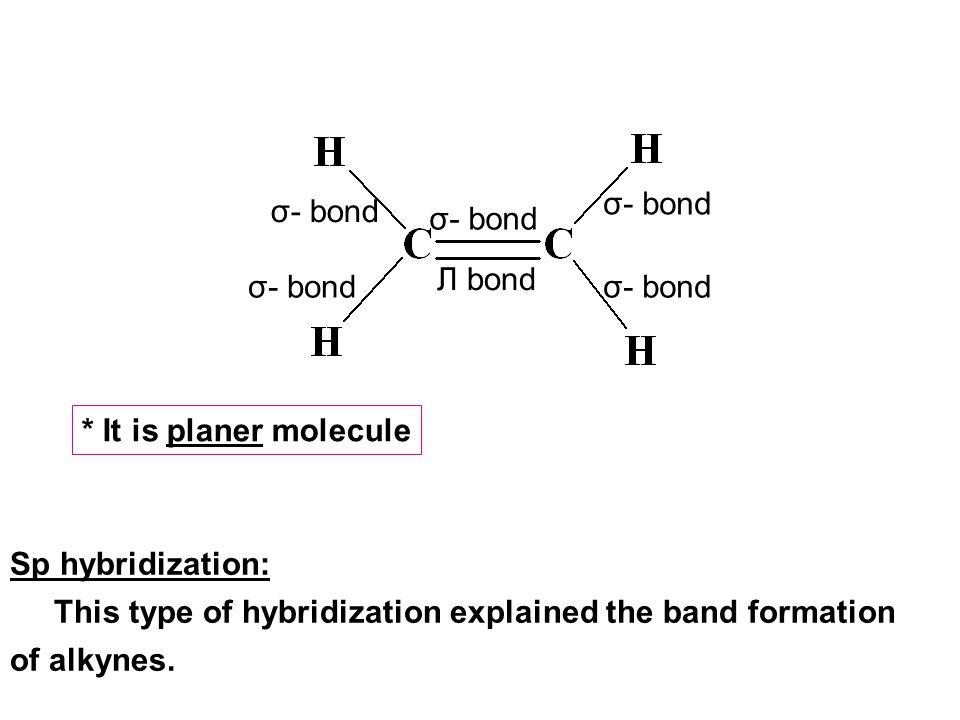σ- bond Л bond * It is planer molecule Sp hybridization: This type of hybridization explained the band formation of alkynes.