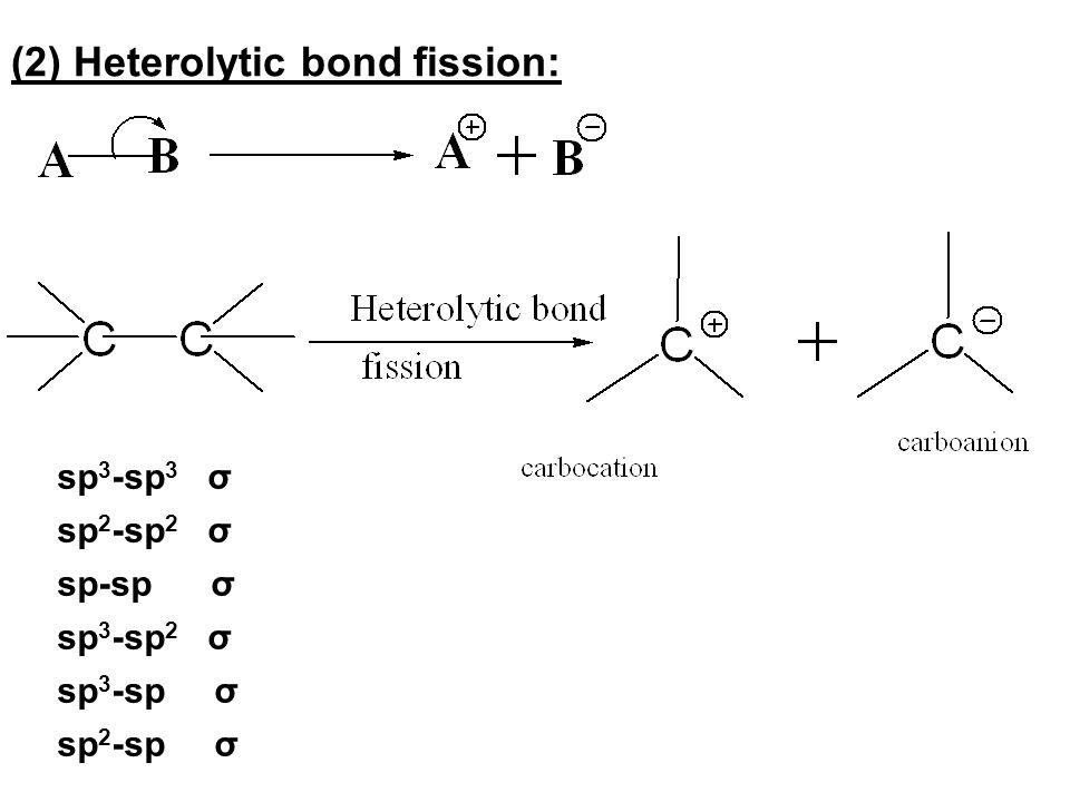 (2) Heterolytic bond fission: sp 3 -sp 3 σ sp 2 -sp 2 σ sp-sp σ sp 3 -sp 2 σ sp 3 -sp σ sp 2 -sp σ