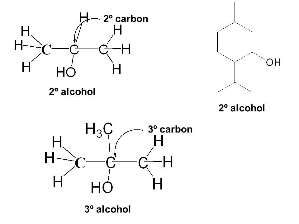 2º alcohol 3º alcohol 2º carbon 3º carbon