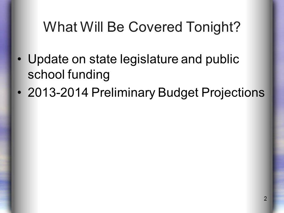 Update on State Legislature and Public School Funding Senate Bill 1 - $1.5B House Bill 1 - $2.5B No new Instructional Facilities Allotment Direction of 2013-2015 final state budget.