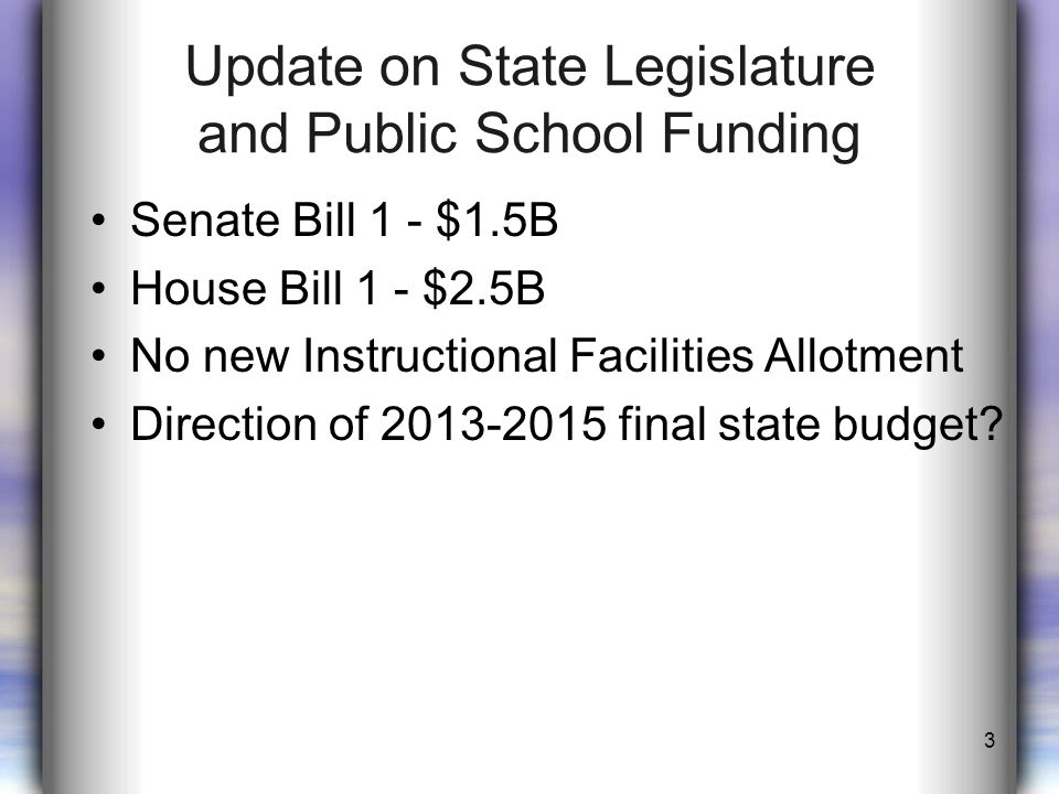 Update on State Legislature and Public School Funding Senate Bill 1 - $1.5B House Bill 1 - $2.5B No new Instructional Facilities Allotment Direction of 2013-2015 final state budget.