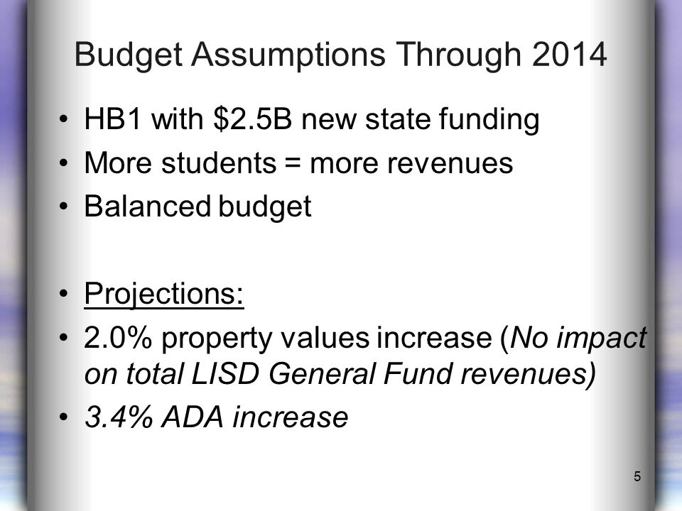 Sequestration of Federal Funds for 2013-2014 Approximately 5.1% reduction – reduces federal budget deficit Affects 2013-2014 school funds by increasing the General Fund budget Increases LISD share of Special Education Cooperative by $127K 6