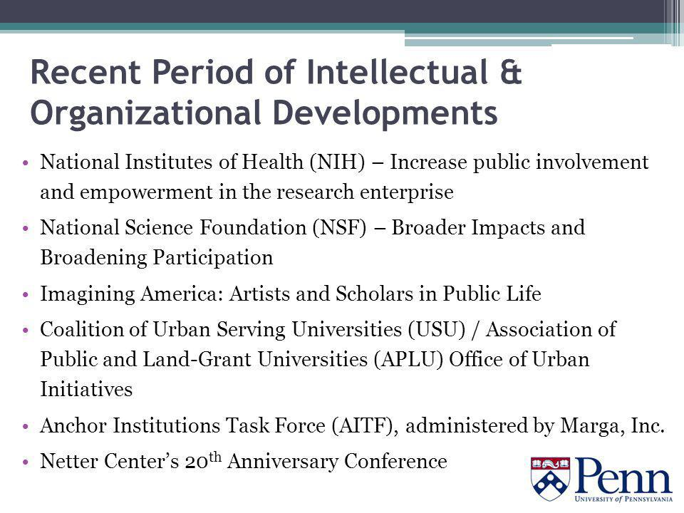 Recent Period of Intellectual & Organizational Developments National Institutes of Health (NIH) – Increase public involvement and empowerment in the research enterprise National Science Foundation (NSF) – Broader Impacts and Broadening Participation Imagining America: Artists and Scholars in Public Life Coalition of Urban Serving Universities (USU) / Association of Public and Land-Grant Universities (APLU) Office of Urban Initiatives Anchor Institutions Task Force (AITF), administered by Marga, Inc.