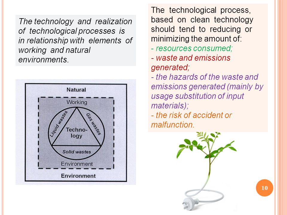 10 The technology and realization of technological processes is in relationship with elements of working and natural environments. The technological p