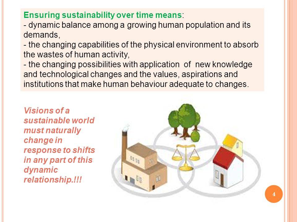 4 Visions of a sustainable world must naturally change in response to shifts in any part of this dynamic relationship.!!! Ensuring sustainability over