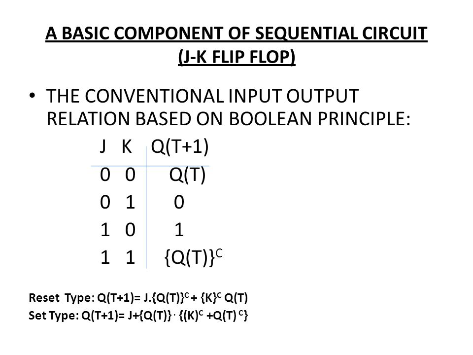 A BASIC COMPONENT OF SEQUENTIAL CIRCUIT (J-K FLIP FLOP) THE CONVENTIONAL INPUT OUTPUT RELATION BASED ON BOOLEAN PRINCIPLE: J K Q(T+1) 0 0 Q(T) 0 1 0 1