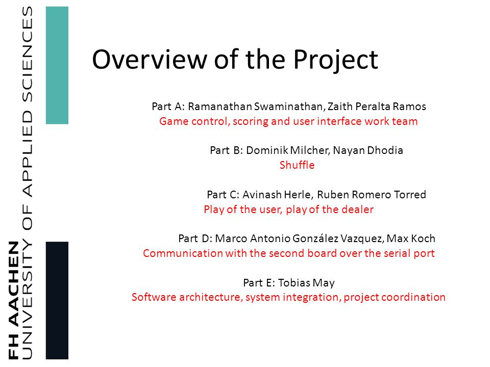 Overview of the Project Part A: Ramanathan Swaminathan, Zaith Peralta Ramos Game control, scoring and user interface work team Part B: Dominik Milcher, Nayan Dhodia Shuffle Part C: Avinash Herle, Ruben Romero Torred Play of the user, play of the dealer Part D: Marco Antonio González Vazquez, Max Koch Communication with the second board over the serial port Part E: Tobias May Software architecture, system integration, project coordination