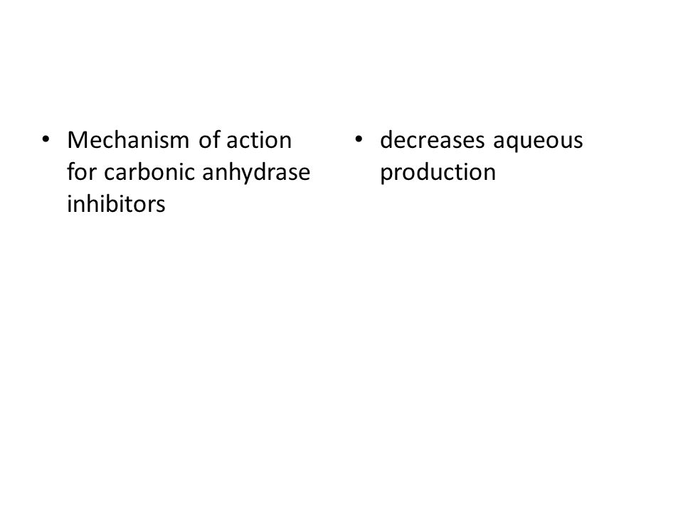 Mechanism of action for carbonic anhydrase inhibitors decreases aqueous production