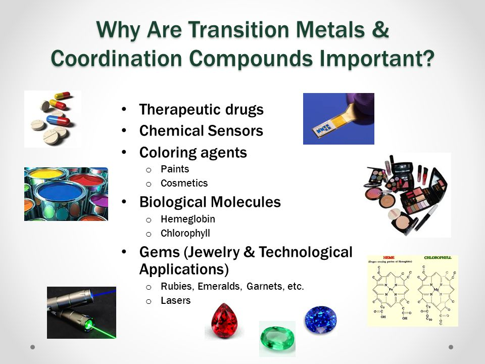 24.2 Properties of Transition Metals Moderate to High Densities Good Electrical Conductivity High Melting Points Moderate to Extreme Hardness http://www.tutorvista.com/chemistry/shapes-of-d-orbitals Due to the delocalization of d electrons in metallic bonding Exceptions: Elements with filled d orbitals, which prevents d-d bonding.