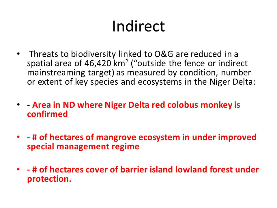 PROJECT OBJECTIVES The project objective is to mainstream biodiversity management priorities into the Niger Delta oil and gas (O&G) sector development policies and operations.
