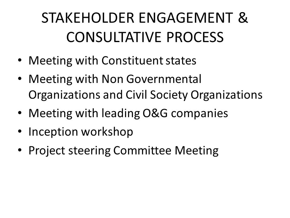 STAKEHOLDER ENGAGEMENT & CONSULTATIVE PROCESS Meeting with Constituent states Meeting with Non Governmental Organizations and Civil Society Organizati
