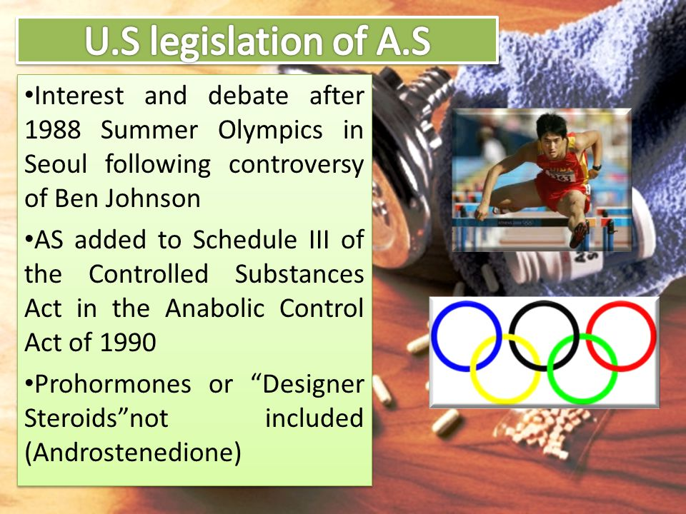 Interest and debate after 1988 Summer Olympics in Seoul following controversy of Ben Johnson AS added to Schedule III of the Controlled Substances Act