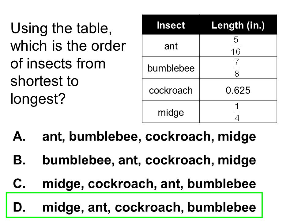 Using the table, which is the order of insects from shortest to longest? A. ant, bumblebee, cockroach, midge B. bumblebee, ant, cockroach, midge C. mi