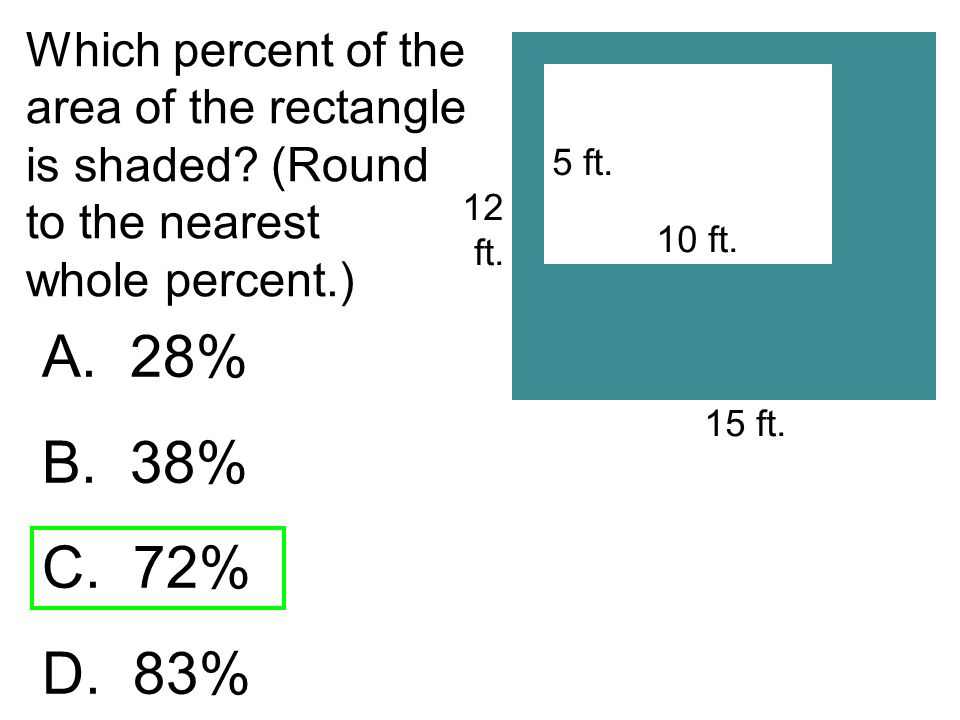 Which percent of the area of the rectangle is shaded? (Round to the nearest whole percent.) A. 28% B. 38% C. 72% D. 83% 12 ft. 5 ft. 10 ft. 15 ft.
