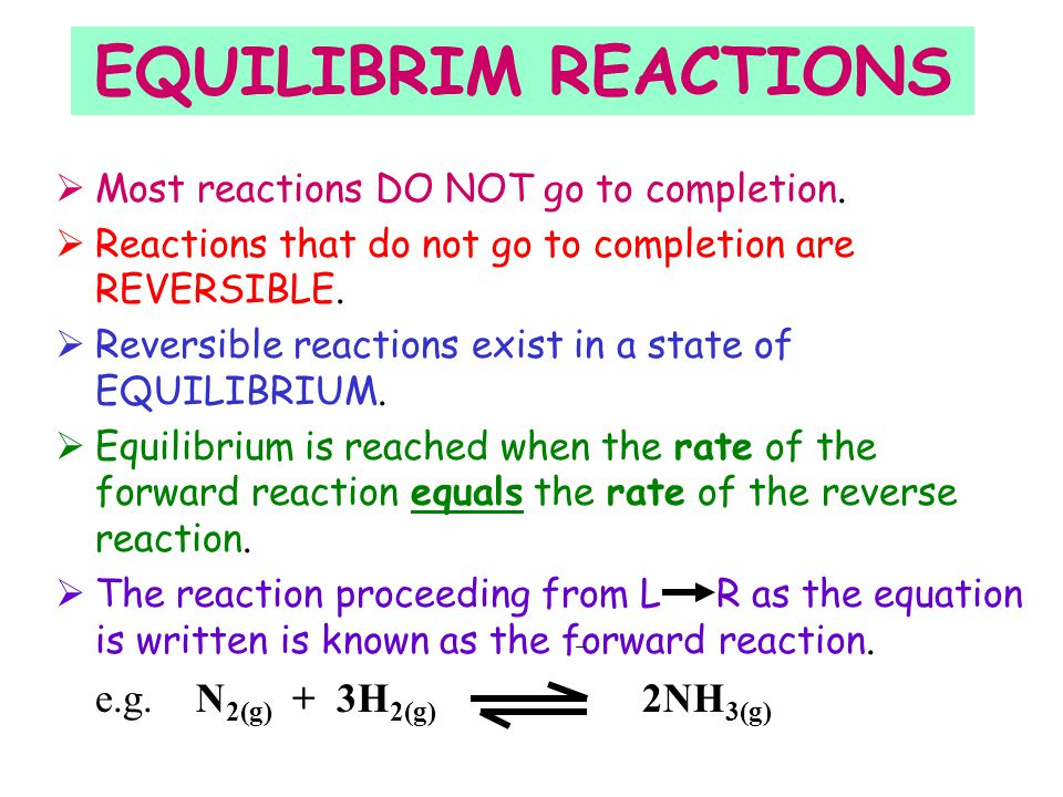 Chemical Equilibrium A B + A B + C D + A B + C D + Reaction begins. No products yet formed. High rate of collisions between A & B. Rate of forward rea