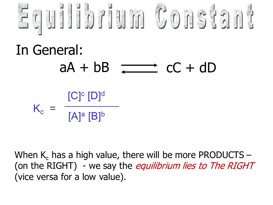At equilibrium the concentration of all sub- stances are constant at a fixed temperature. Each equilibrium has a constant e.g. for H 2 (g) + I 2 (g)2H