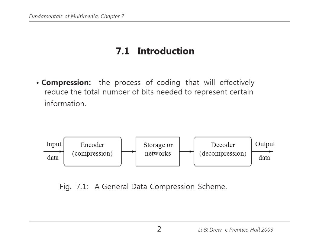 Fundamentals of Multimedia, Chapter 7 7.1 Introduction Compression: the process of coding that will e ff ectively reduce the total number of bits needed to represent certain information.