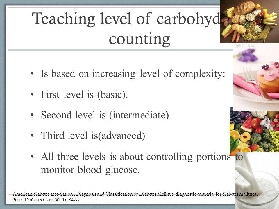 Teaching level of carbohydrate counting Is based on increasing level of complexity: First level is (basic), Second level is (intermediate) Third level