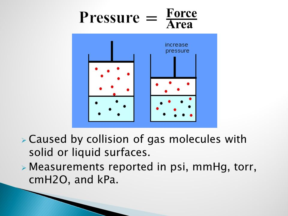  Caused by collision of gas molecules with solid or liquid surfaces.  Measurements reported in psi, mmHg, torr, cmH2O, and kPa. = Force Area