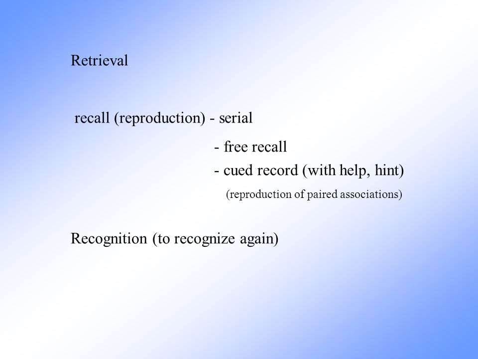 Declarative Explicit Nondeclarative Implicit Epizodic Store events autobiografic Semantic Store facts Non associative associative learning – relation between stimulus-response two or more stimuli, events, behavior – its consequence Long term memory classical conditioning instrumental, operant conditioning (standard or motor learning) conditioned taste aversion priming