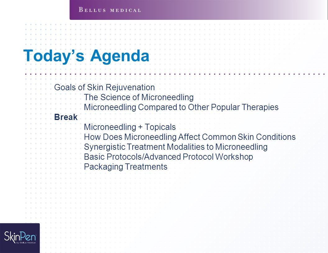 Today's Agenda Goals of Skin Rejuvenation The Science of Microneedling Microneedling Compared to Other Popular Therapies Break Microneedling + Topical