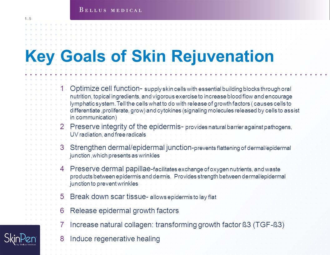 Key Goals of Skin Rejuvenation 1Optimize cell function - supply skin cells with essential building blocks through oral nutrition, topical ingredients,