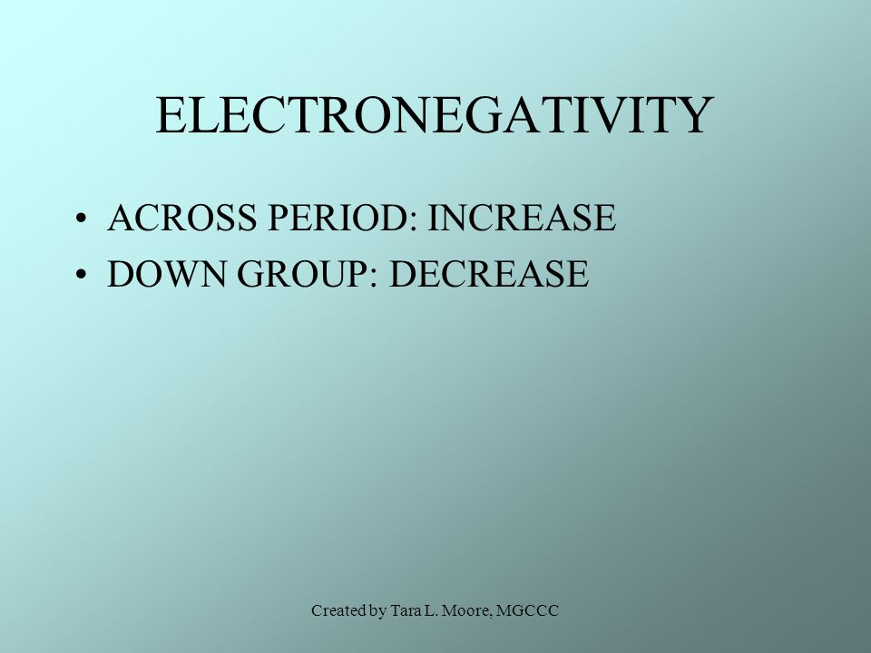 Created by Tara L. Moore, MGCCC ELECTRONEGATIVITY ACROSS PERIOD: INCREASE DOWN GROUP: DECREASE