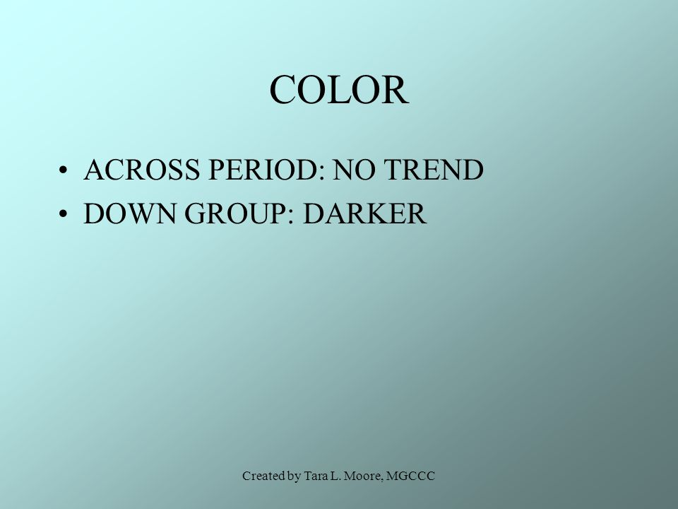 Created by Tara L. Moore, MGCCC COLOR ACROSS PERIOD: NO TREND DOWN GROUP: DARKER