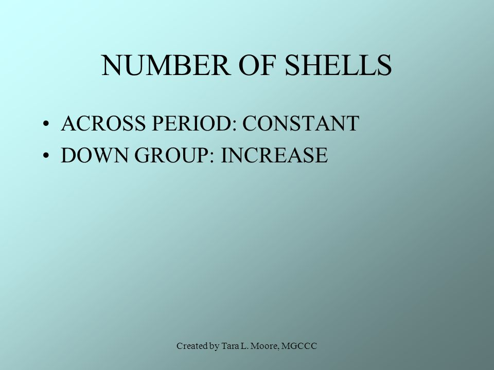 Created by Tara L. Moore, MGCCC NUMBER OF SHELLS ACROSS PERIOD: CONSTANT DOWN GROUP: INCREASE