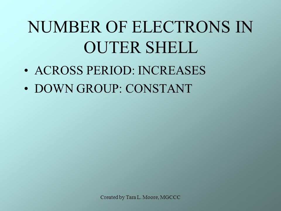 Created by Tara L. Moore, MGCCC NUMBER OF ELECTRONS IN OUTER SHELL ACROSS PERIOD: INCREASES DOWN GROUP: CONSTANT