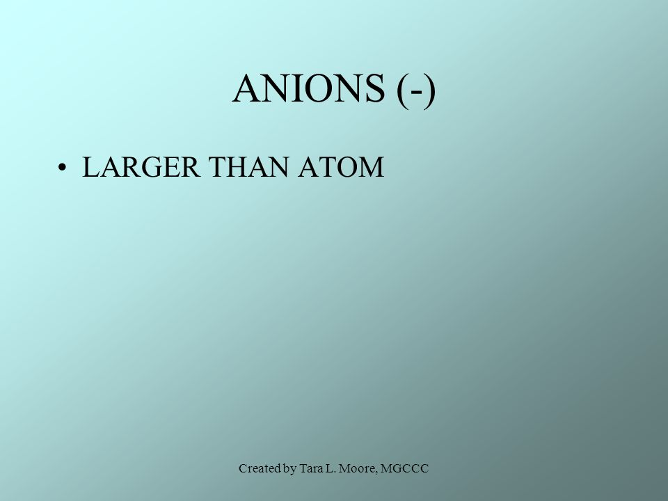 Created by Tara L. Moore, MGCCC ANIONS (-) LARGER THAN ATOM