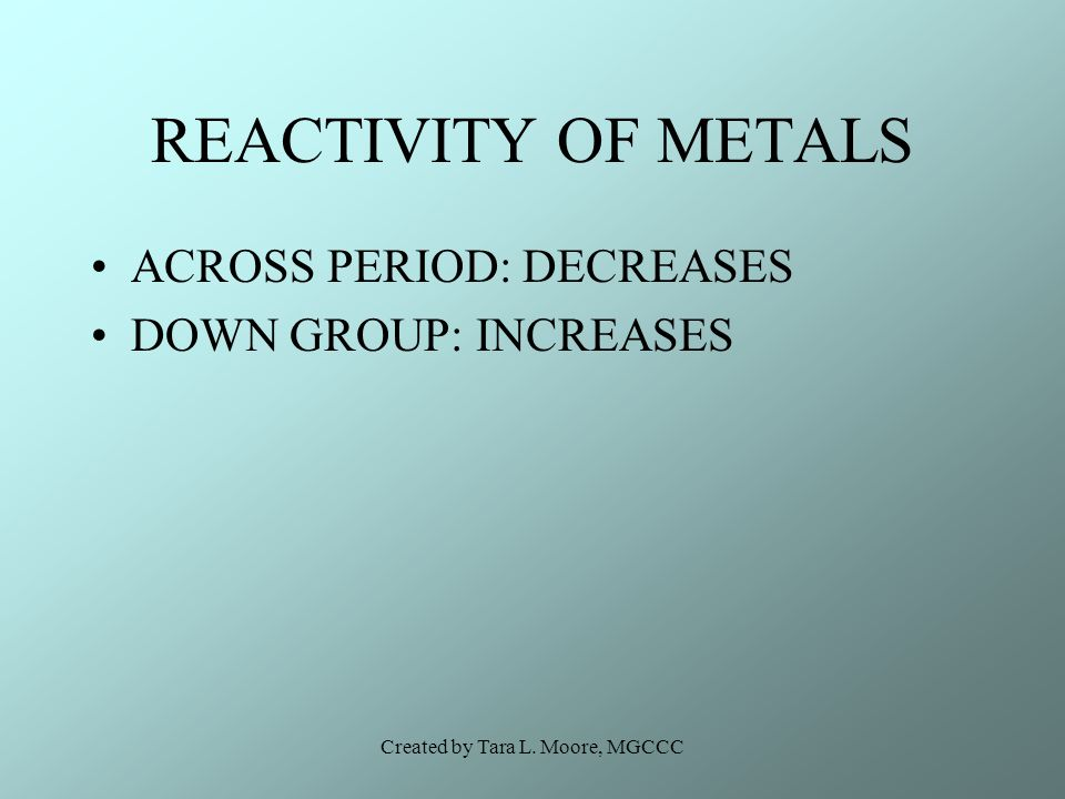 Created by Tara L. Moore, MGCCC REACTIVITY OF METALS ACROSS PERIOD: DECREASES DOWN GROUP: INCREASES