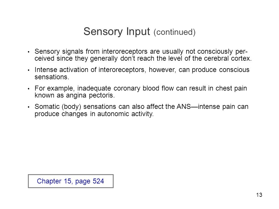 13 Sensory Input (continued) Sensory signals from interoreceptors are usually not consciously per- ceived since they generally don't reach the level o