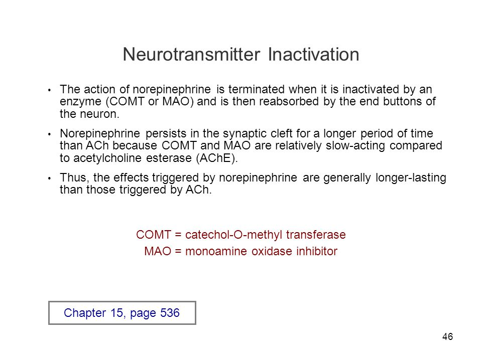 46 Neurotransmitter Inactivation The action of norepinephrine is terminated when it is inactivated by an enzyme (COMT or MAO) and is then reabsorbed b
