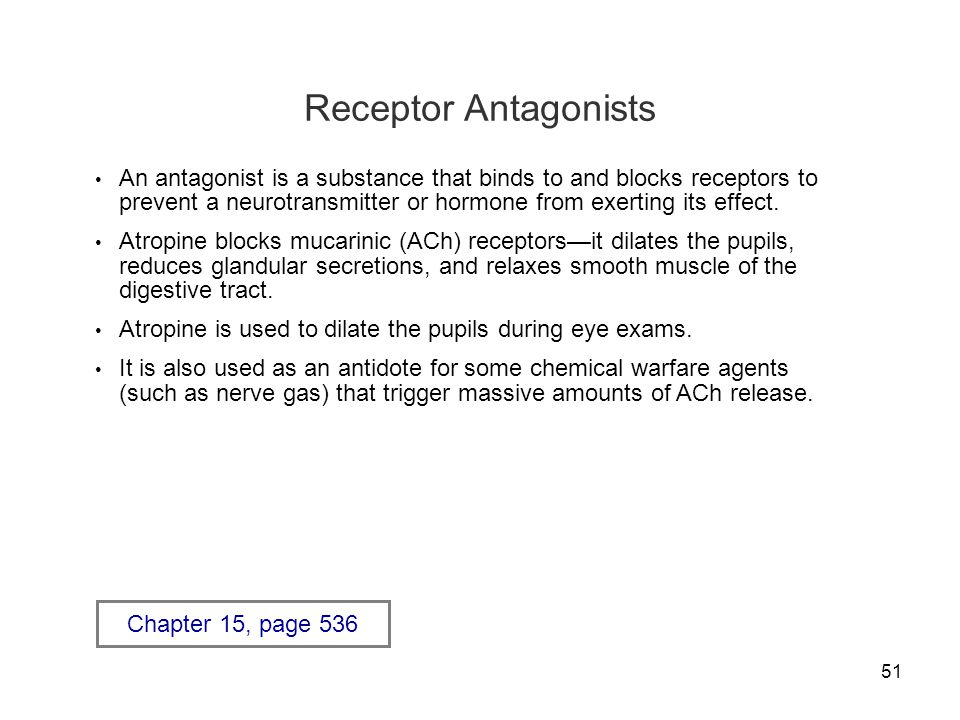 51 Receptor Antagonists An antagonist is a substance that binds to and blocks receptors to prevent a neurotransmitter or hormone from exerting its eff