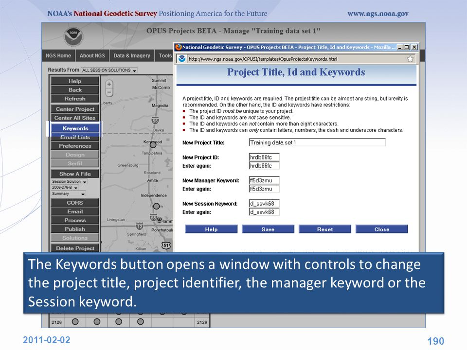 The Keywords button opens a window with controls to change the project title, project identifier, the manager keyword or the Session keyword. 2011-02-