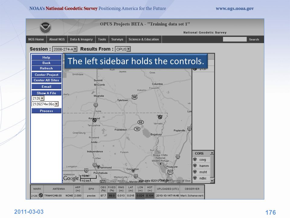 The left sidebar holds the controls. 2011-03-03 176