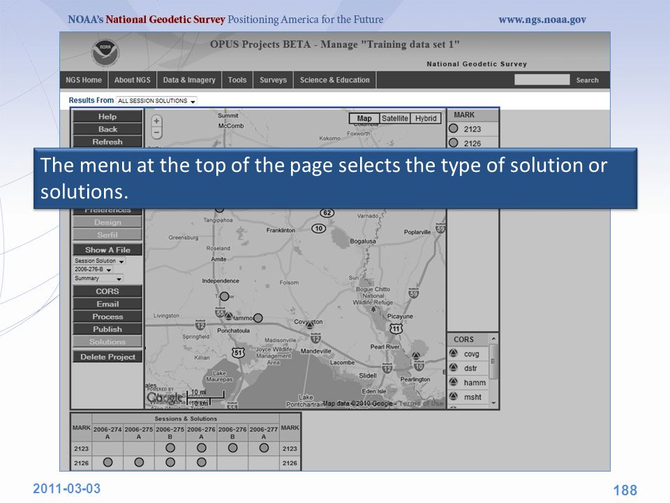 The menu at the top of the page selects the type of solution or solutions. 2011-03-03 188
