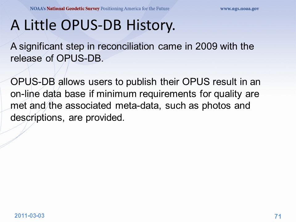 A Little OPUS-DB History.