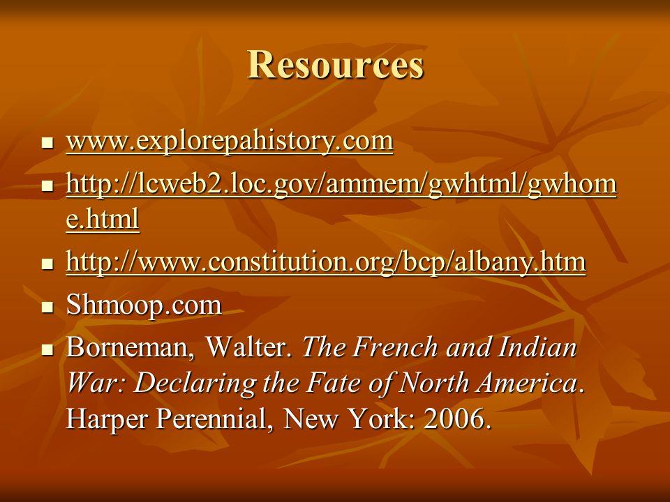 Resources www.explorepahistory.com www.explorepahistory.com www.explorepahistory.com http://lcweb2.loc.gov/ammem/gwhtml/gwhom e.html http://lcweb2.loc.gov/ammem/gwhtml/gwhom e.html http://lcweb2.loc.gov/ammem/gwhtml/gwhom e.html http://lcweb2.loc.gov/ammem/gwhtml/gwhom e.html http://www.constitution.org/bcp/albany.htm http://www.constitution.org/bcp/albany.htm http://www.constitution.org/bcp/albany.htm Shmoop.com Shmoop.com Borneman, Walter.