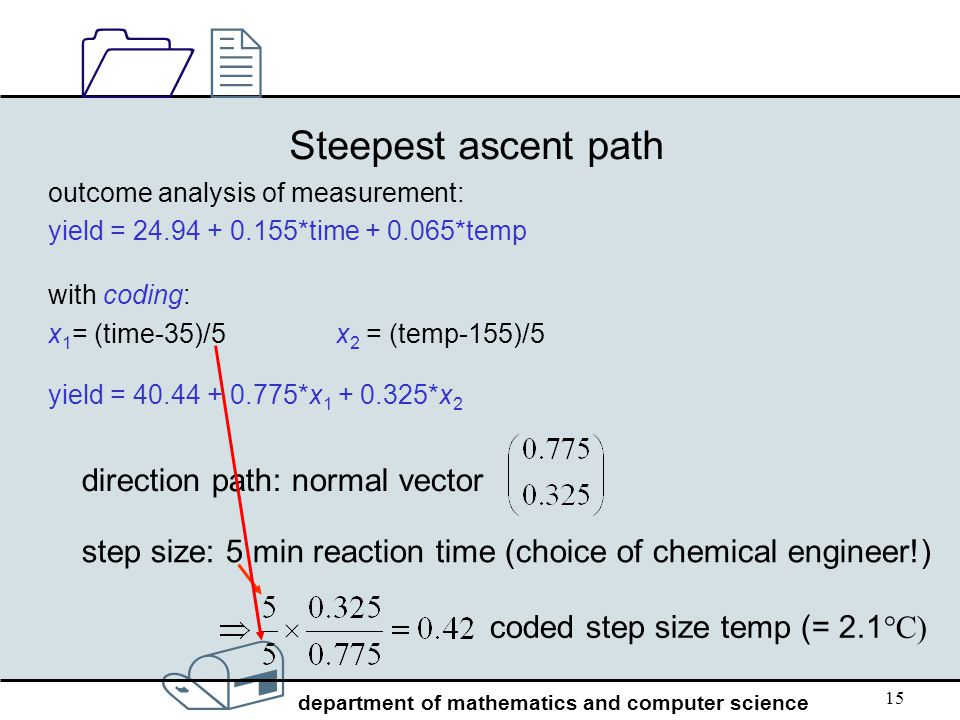 / department of mathematics and computer science 1212 15 Steepest ascent path outcome analysis of measurement: yield = 24.94 + 0.155*time + 0.065*temp