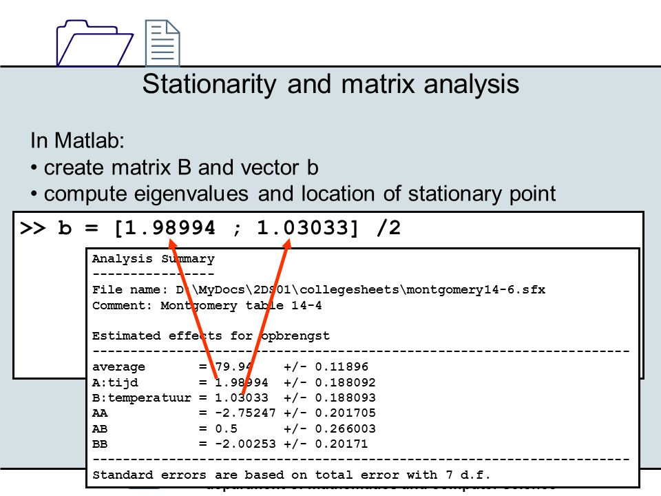 / department of mathematics and computer science 1212 33 Stationarity and matrix analysis In Matlab: create matrix B and vector b compute eigenvalues