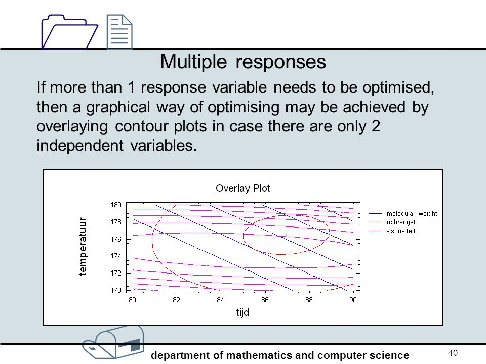/ department of mathematics and computer science 1212 40 Multiple responses If more than 1 response variable needs to be optimised, then a graphical w