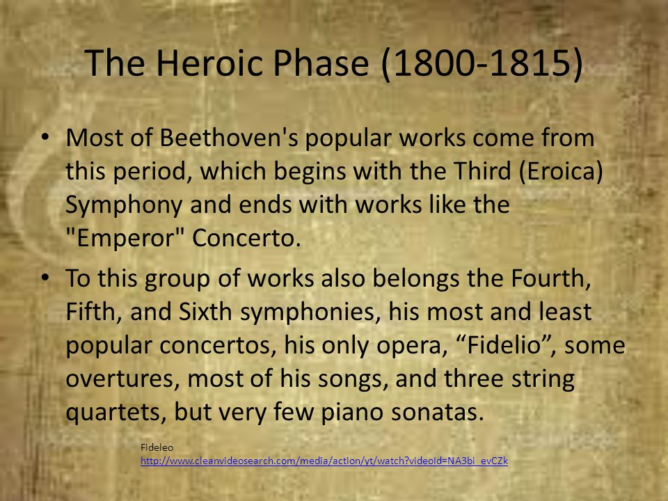 The Heroic Phase (1800-1815) Most of Beethoven's popular works come from this period, which begins with the Third (Eroica) Symphony and ends with work