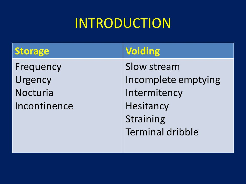 INTRODUCTION StorageVoiding Frequency Urgency Nocturia Incontinence Slow stream Incomplete emptying Intermitency Hesitancy Straining Terminal dribble