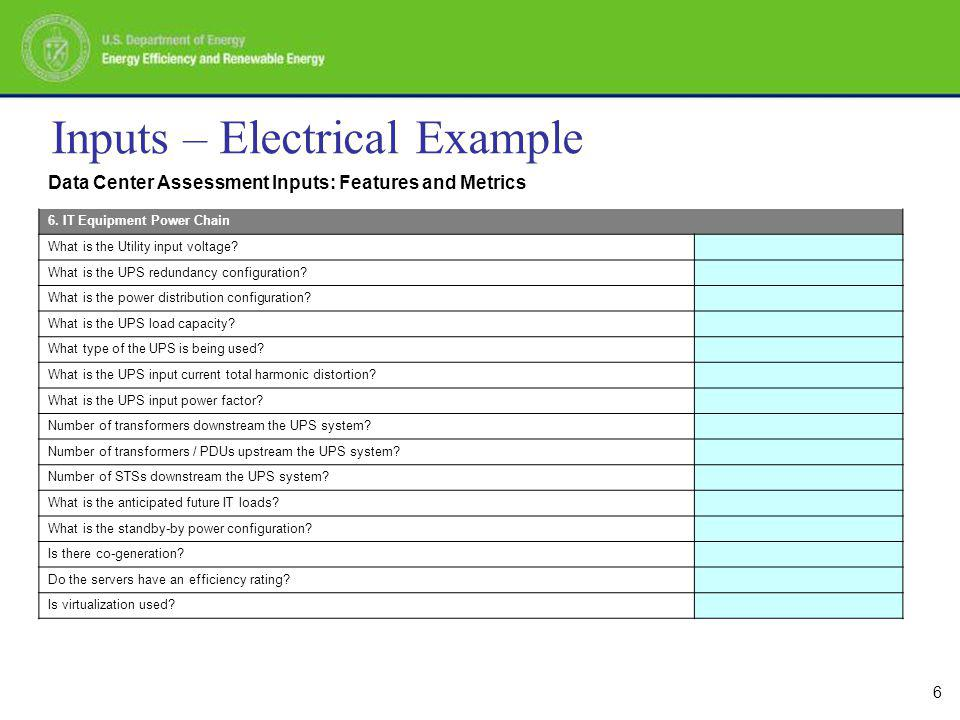 6 Inputs – Electrical Example Data Center Assessment Inputs: Features and Metrics 6.