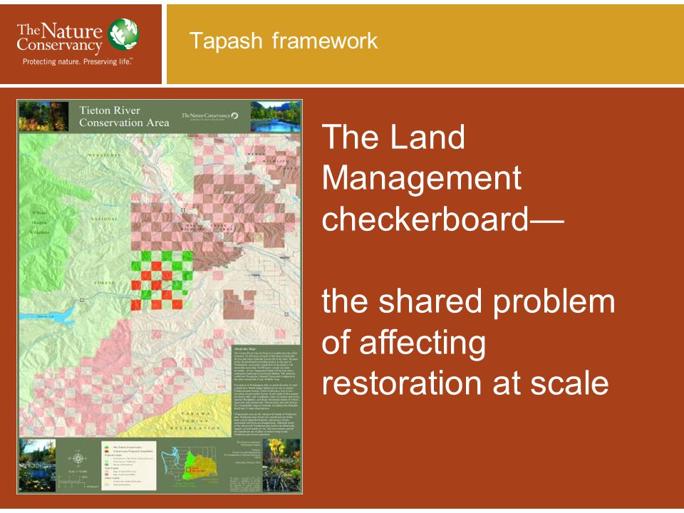 Tapash framework The Land Management checkerboard— the shared problem of affecting restoration at scale