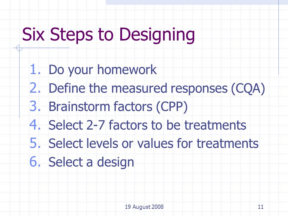 19 August 200811 Six Steps to Designing 1. Do your homework 2.