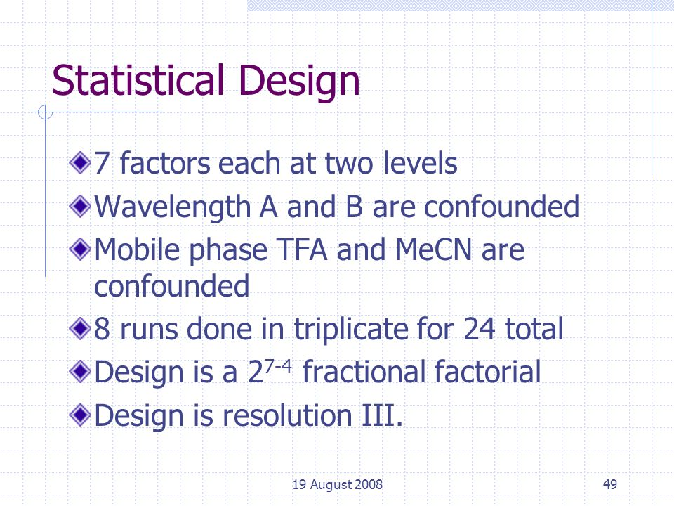 19 August 200849 Statistical Design 7 factors each at two levels Wavelength A and B are confounded Mobile phase TFA and MeCN are confounded 8 runs done in triplicate for 24 total Design is a 2 7-4 fractional factorial Design is resolution III.